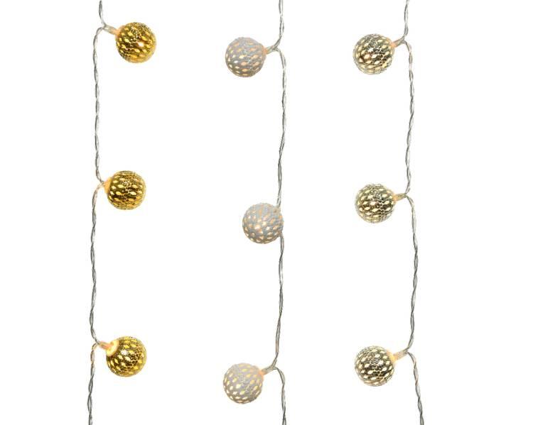 Новогодняя LED гирлянда Металлические шарики серебро/золото/белый 90 см