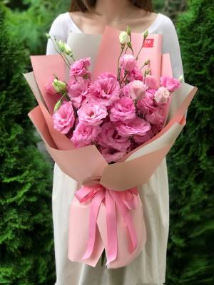 Bouquet of 9 Pink Lisianthus - заказ и доставка цветов Киев