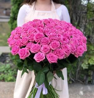 Букет 101 розовая роза - заказ и доставка цветов Киев