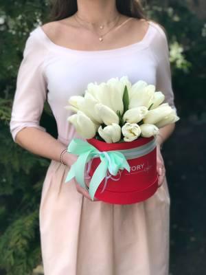 25 белых тюльпанов в коробке - заказ и доставка цветов Киев