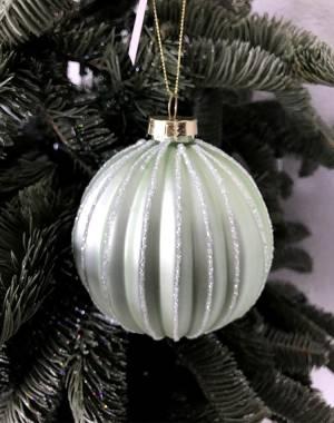 Стеклянный ёлочный шар 3D, матовый зелёный, 10 см - заказ и доставка цветов Киев