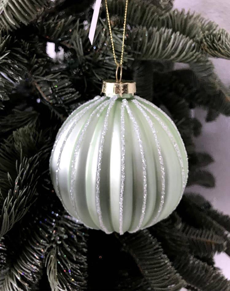 Стеклянный ёлочный шар 3D, матовый зелёный, 10 см