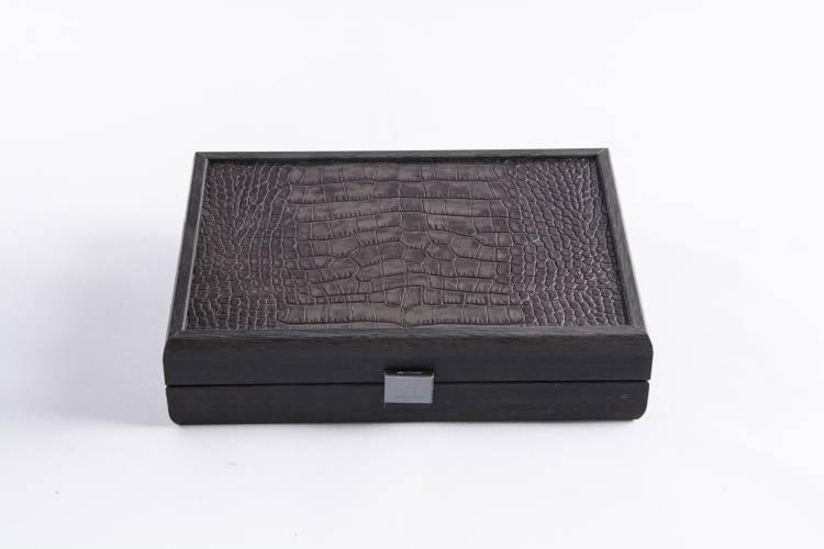 Домино 5,2x2,7x1см в деревянном футляре из коричневой кожи страуса