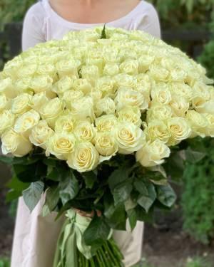 Букет 101 белая импортная роза, 80 см - заказ и доставка цветов Киев