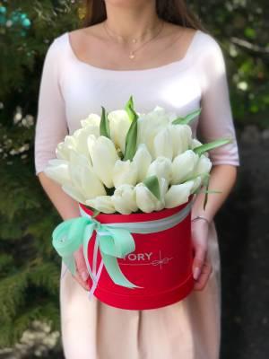 35 белых тюльпанов в коробке - заказ и доставка цветов Киев
