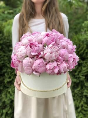 39 розовых пионов в коробке - заказ и доставка цветов Киев