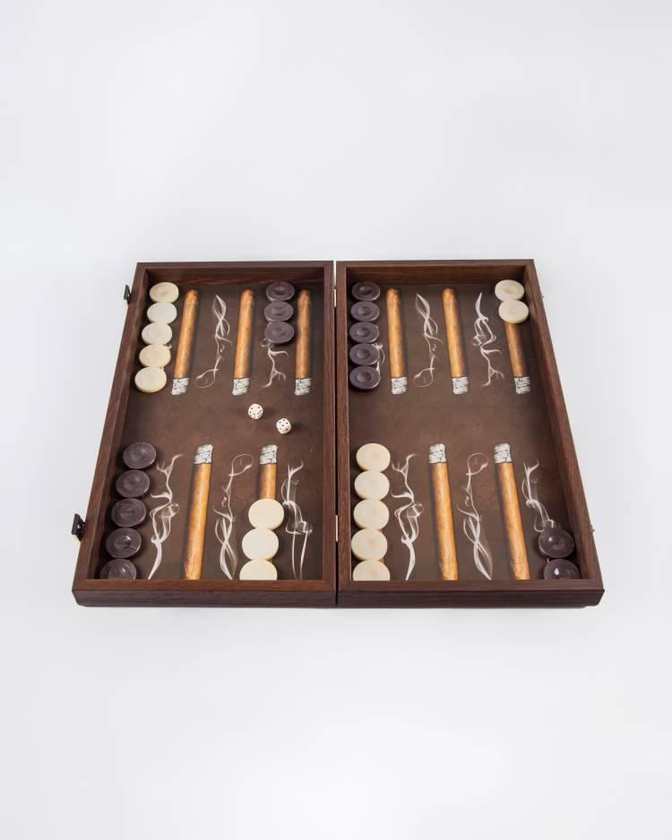 Нарды ручной работы деревянные с рисунком сигар Робусто