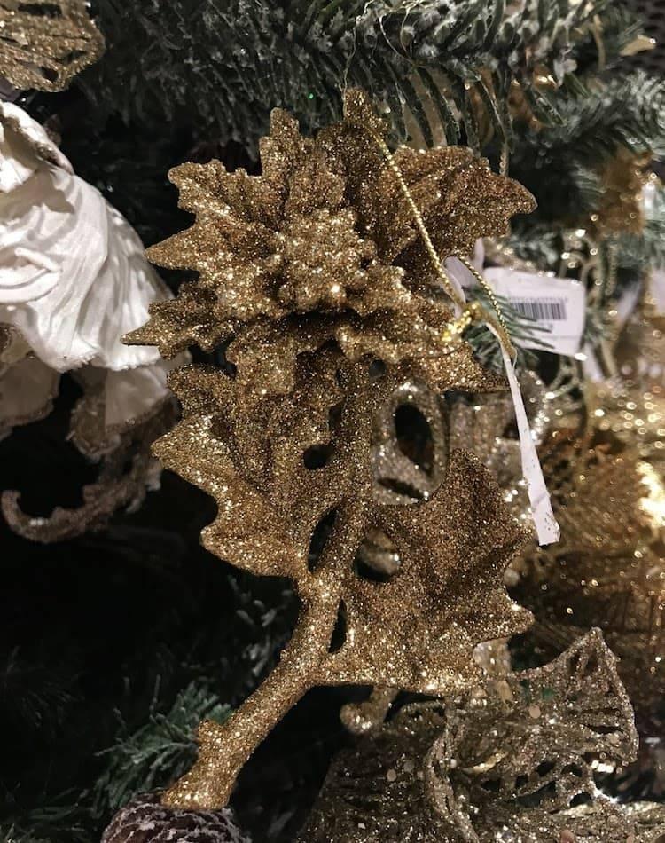 Новогоднее украшение Стебель Пуансеттия с блёстками, золото, 14 см