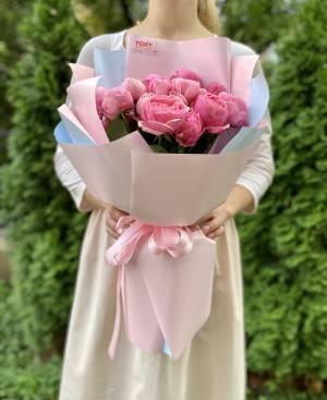 БУКЕТ 9 РОЗ СПРЕЙ СИЛЬВИЯ ПИНК - заказ и доставка цветов Киев